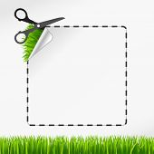 Vector sscissors cut sticker. Green grass
