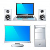 laptop with speaker and computer system unit isolated on white background vector illustration