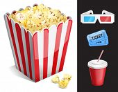 Cinema symbols vector set isolated. 3-d glasses, ticket, soda, popcorn