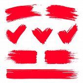 Vector Red Paint, Ink Vector Brush Splash, Brush, Stroke, Frame Or Texture. Grunge Paintbrushes, Bac poster