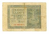 Polish Banknote At 1 Zloty, 1941 poster