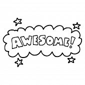 black and white cartoon awesome sign poster