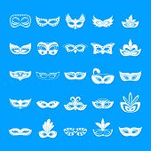 Carnival Mask Venetian Icons Set. Simple Illustration Of 25 Carnival Mask Venetian Icons For Web poster