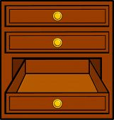 open and closed drawers