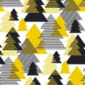 Simple Cool Black And Yellow Geometric Christmas Tree Seamless Pattern. Triangles Geometry Repeatabl poster