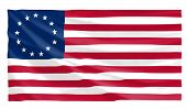 stock photo of betsy ross  - large wavy old us betsy ross flag - JPG