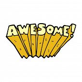 cartoon doodle awesome word poster