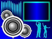 a background illustration with a group of musical speakers on a blue background with a text box and graphic equaliser and silhouetted dancers, useful for party invitation