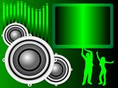 A background illustration with a group of musical speakers on a green background with a text box and graphic equaliser and silhouetted dancers, useful for party invitation
