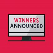 Handwriting Text Writing Winners Announced. Concept Meaning Announcing Who Won The Contest Or Any Co poster