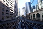 Looking Down A Pair Of Parallel Elevated Train Tracks, Railroad Tracks In The Chicago Downtown Loop  poster