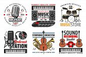 Music Shop, Sound Record Studio And Podcast Station Icons With Guitar, Microphone And Headphones, Dr poster