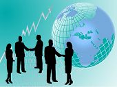 picture of person silhouette  - A vector group of business people in silhouette shaking hands in front of a graph showing upward trends and a map of the world - JPG