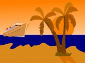 A vector illustration of a cruise ship approaching a desert island at sunset