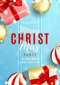 Merry Christmas Party Invitation Poster. Elegant Background With Top View On Realistic Gift Boxes An poster