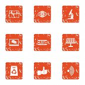 Scientific Cognition Icons Set. Grunge Set Of 9 Scientific Cognition Icons For Web Isolated On White poster
