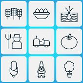 Farm Icons Set With Eggs, Corn, Soil And Other Ovum Elements. Isolated Vector Illustration Farm Icon poster