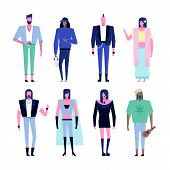 Colorful Flat Characters, Subculture Music Genre Apparel Style Concept.flat People Outfit Styles Div poster