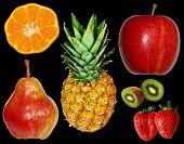 Fruits Over Black