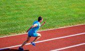 Athlete Run Track Grass Background. Runner In Motion. Many Runners Like Challenge Of Extending Their poster