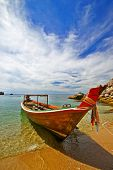 Thai Longtail boat at Koh Tao beach