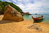 Thailand Vacations Scene with Long-tailed Boat