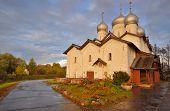 Russian Orthodox Boris-Gleb-Church Church at Sunset, Novgorod The Great, Russia
