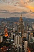 Kuala Lumpur Sunset Scene with Petronas Towers