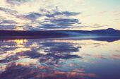 Serenity lake in tundra in Alaska poster