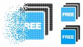 Free Items Icon In Dispersed, Dotted Halftone And Undamaged Versions. Particles Are Combined Into Ve poster