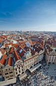 Red roofs of Old City central square, Prague, Czech Republic