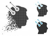 Neural Interface Plugs Icon In Dispersed, Pixelated Halftone And Original Versions. Points Are Compo poster