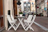 Mesa de café numa rua, Amsterdam