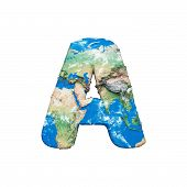World Earth Globe Alphabet Letter A Uppercase. Global Worldwide Font With Nasa Map. 3d Render Isolat poster