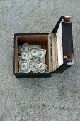 money collected in a box by a street musician