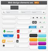 Web design elements set white. Vector illustration