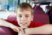 Closeup portrait of boy in bus