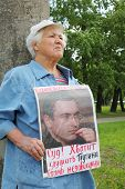 MOSCOW - MAY 24: Supporter of Mikhail Khodorkovsky picketed near building Moscow City Court on May 2