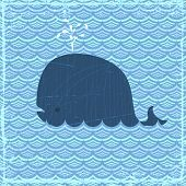 Grunge summer banner with whale, vector eps10 illustration