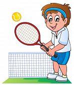 Cartoon tennis player - vector illustration.