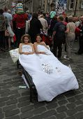 EDINBURGH- AUGUST 11: Members of Rush Theatre Company publicize their show Closer during Edinburgh F