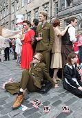 EDINBURGH- AUGUST 11: Members of Greenwich Theatre publicize their show Macbeth during Edinburgh Fringe Festival on August 11, 2012 in Edinburgh