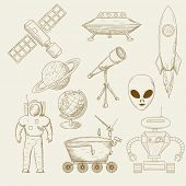 Vector illustration icons on the cosmos