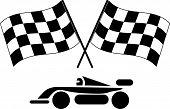 kariertes Flags und Rennwagen