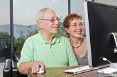 pic of senior-citizen  - senior couple using an computer at home - JPG