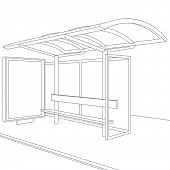 Bus stop. Empty design template for branding. Rasterized version