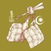Hand Drawn Ketupat, Muslim Traditional Rice Dumpling Translation of Jawi Text: Eid Mubarak, May you Enjoy a Blessed Festival