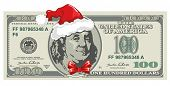 Dollar banknote for Christmas with Santa's hat in humorous style. Business concept.