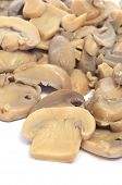 pic of crimini mushroom  - cooked sliced mushrooms on a white background - JPG