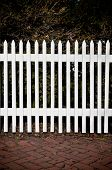 White Picket Fence with Red Brick Sidewalk and Trees